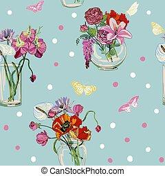 花, カラフルである, 花束, パターン, seamless, つぼ, ガラス, ベクトル, 背景