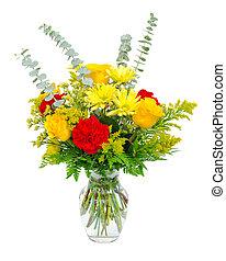 花, カラフルである, 花束, 隔離された, つぼ, white., 整理