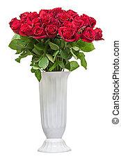 花, カラフルである, 花束, 隔離された, ばら, 白, backgro, 赤