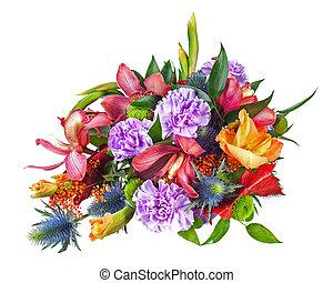 花, カラフルである, 花束, 隔離された, 整理, センターピース, ほんの少し