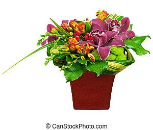 花, カラフルである, 花束, 隔離された, 整理, センターピース, バックグラウンド。, 白, つぼ, closeup.