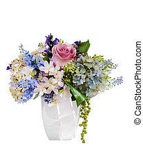 花, カラフルである, 花束, 隔離された, 整理, センターピース, 白, つぼ