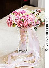 花, カラフルである, 花束, 隔離された, 背中, 花嫁, 結婚式, 白
