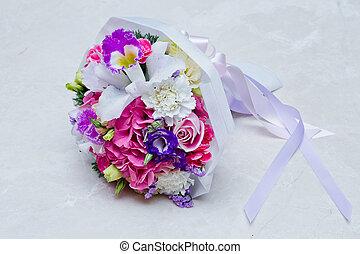 花, カラフルである, 花束, 隔離された, 花嫁, 背景, 結婚式, 白
