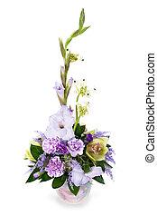 花, カラフルである, 花束, gladioluses, 隔離された, 整理, センターピース, 背景, 白, つぼ