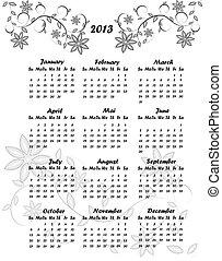 花, カレンダー, 2013