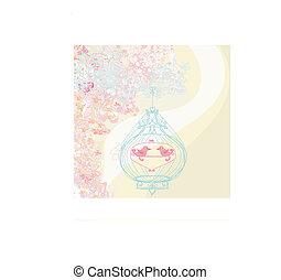 花, カード, ∥で∥, a, 鳥, 上に, ∥, ケージ