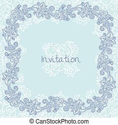 花, カード, テンプレート, 招待