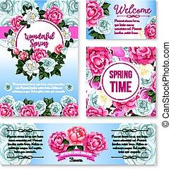 花, カード, 挨拶, 春, テンプレート, 旗