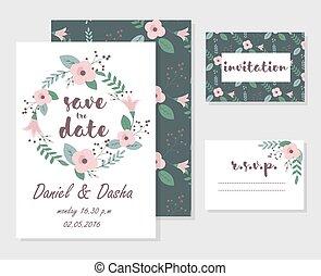 花, カード, 結婚式の招待