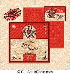 花, カード, 結婚式
