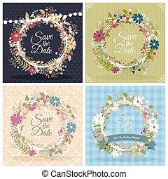 花, カード, 結婚式, 挨拶, 招待