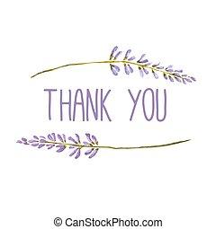 花, カード, lavender., 挨拶, ベクトル, 水彩画, ありがとう