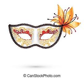 花, カーニバル, 金, マスク, 装飾, オレンジ, 白, きらめき, 赤