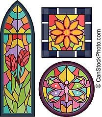 花, ガラス, デザイン, 汚された, 蝶
