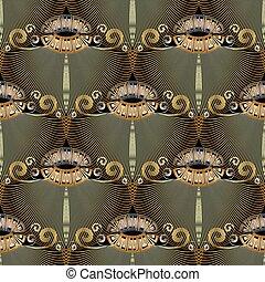 花, キー, meanders, グランジ, pattern., seamless, ギリシャ語, 型