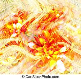 花, グランジ, しまのある, そして, 波状, 明るい, 背景, ∥で∥, 定型, 金, 菊