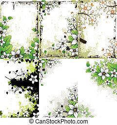 花, グランジ, セット, 背景
