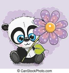 花, グリーティングカード, パンダ