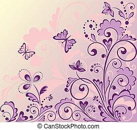 花, グリーティングカード, レトロ