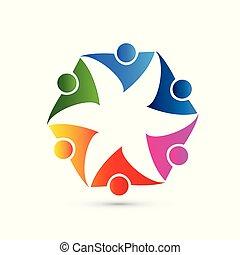 花, グループ, 人々, 形, ベクトル, チームワーク, ロゴ, 表すこと, アイコン