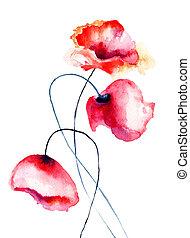 花, ケシ, カラフルである
