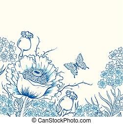 花, ケシ, 背景