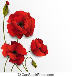 花, ケシ, flowers., ペーパー, 背景