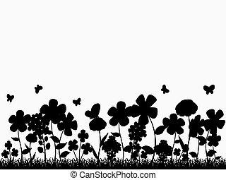 花, シルエット, 林間の空き地