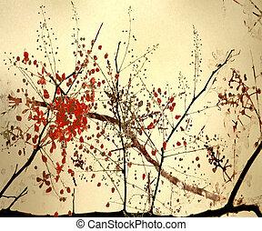 花, スタイル, カリグラフィー, 芸術, 背景