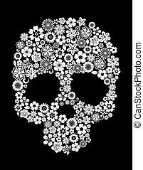 花, スタイル, 人間の頭骨