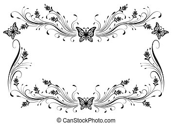 花, スタイル, 隔離された, 装飾, フレーム, 白, 蝶, 装飾用である, レトロ, 型