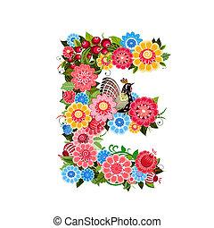 花, スタイル, khokhloma, 手紙, 鳥