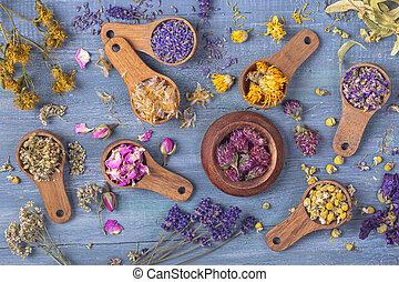 花, スプーン, 木製である, 乾かされた