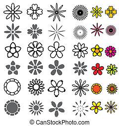 花, セット, アイコン, ベクトル