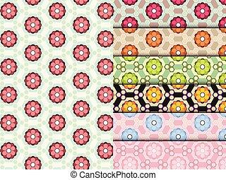 花, セット, カラフルである, パターン, seamless, ベクトル