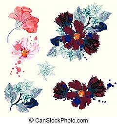 花, セット, ベクトル, デザイン