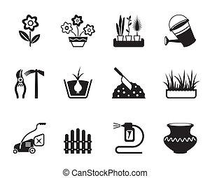 花, セット, 庭, アイコン