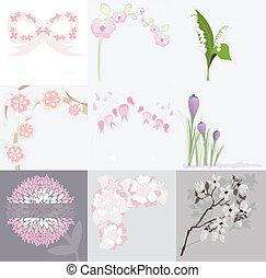 花, セット, 背景