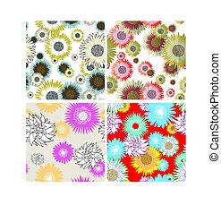 花, セット, 背景, seamless