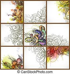 花, セット, backgrounds.