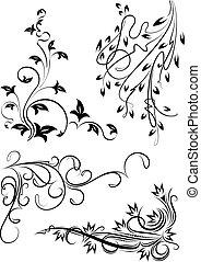 花, セット, corners., 4