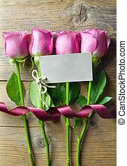 花, タグ, 贈り物, ブランク