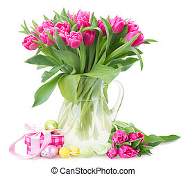 花, チューリップ, ピンク, 束