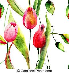 花, チューリップ, 水彩画, イラスト