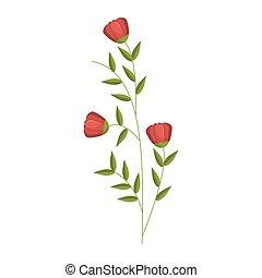 花, チューリップ, 葉, デザイン, アイコン