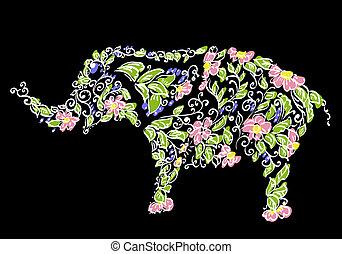 花, デザイナー, 象