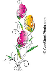 花, デザイン, 空想