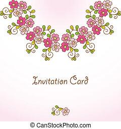 花, バックグラウンド。, カード, 招待