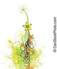花, バックグラウンド。, 抽象的, ベクトル, デザイン